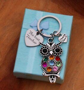 Thank you Teacher OWL Gift Keyring -TEACHING ASSISTANT,NURSERY TEACHER + BOX