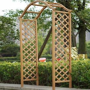 Garden Arch Wooden Pergola Feature Trellis Rose Climbing Plant Archway Tan Frame