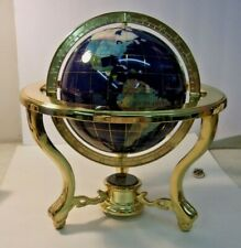 Table Top Semi-Precious Gemstone WORLD GLOBE Polished Brass Base Compass