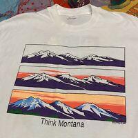 Vintage Test Print T Shirt Adult XL White Montana Lake Powell Nature Test Print