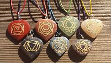NATURAL 7 CHAKRA GEMSTONE ENGRAVED HEART PENDANT SET WITH CORDS