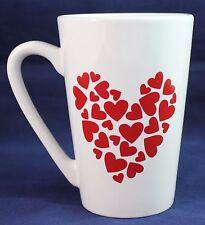 MTY International Tall Red And White Heart  Love Ceramic Coffee Tea Mug Cup