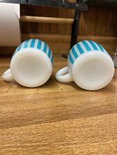 2 Hazel Atlas Turquoise Blue Candy Stripe Coffer Mugs