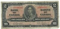 Bank of Canada 1937 2 Two Dollar N/B Prefix Gordon Towers Bank Note 15-175