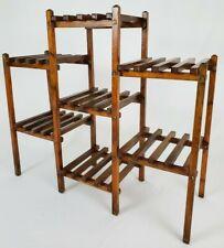 Mid-Century Modern Teak Slat Wood Plant Stand 7 Tier Display Vintage