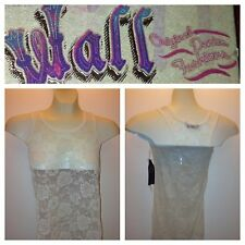 Womens Girls Wall Flower Floral Lace Tank Top Shirt  XS