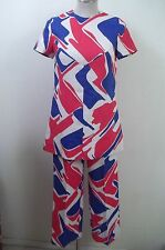 Vintage Handmade MOD 60s Red-White-Blue Graphic Print Top+ Pants  2pc. Outfit S