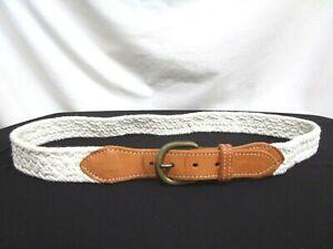 "White Braided Canvas Tan Leather Brass Buckle Belt Women Sz L, 32""-34"""