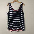 Michael stars Navy Red White Stripe Sweater Tank Contrast Fourth of July M/L