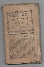 1784 MERCURE DE FRANCE N°34