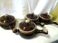 Set of 4 Oven Proof Soup Crock-Handled With Lid-Brown Drip Glaze Style-Taiwan