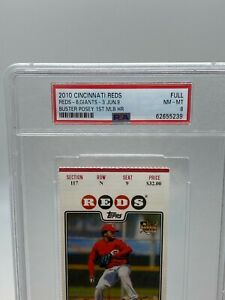 Buster Posey MLB 1st MLB HR Rookie Ticket Stub Giants Rare PSA 6/9 2010 REDS