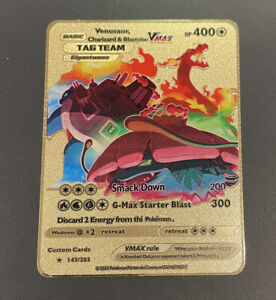 Venusaur Charizard Blastoise VMAX Tag Team Pokemon Metal Card Gigantamax