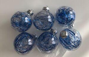 IKEA Kugeln, Christbaumkugeln, Deko, 6 Stück, durchsichtig, blau
