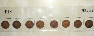 """EIGHT 1935-D LINCOLN WHEAT-BACK PENNIES ... GRADE """"VERY GOOD TO FINE"""""""
