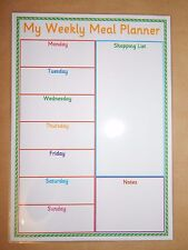 Weekly Meal Planner & shopping list - Homemade -Laminated Reusable/Dry Wipe Pen