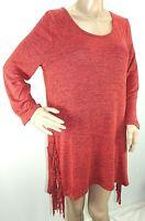 Ultra Teeze Women Plus Size 1x 2x 3x Coral Black Melange Sharkbite Sweater Top