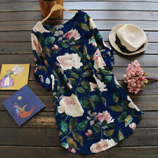 Women Rolled up Long Sleeve Floral Printed Tunic Tops T Shirt Mini Loose Dress Dark Blue 4xl