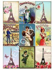 9 Vintage Paris Romance Hang Tags Scrapbooking Paper Crafts (321)