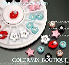 3D Nail Art Decoration Alloy Jewelry Star Lips Glitter Rhinestones+Wheel (NO.20)