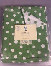 Pottery Barn Kids Polka Dot Duvet Cover Twin Green Reversible 100% Cotton
