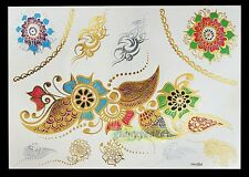 Gold Red Green Flower Leaves Chains Temporary Tattoo