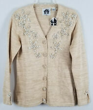 STORYBOOK KNITS Starring Shells and Pearls Cardigan beige Sweater sz S NWT