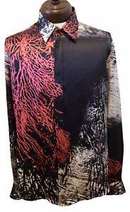 New JUST CAVALLI Robert Cavalli Italy 100% Silk Men's 54 l/s Shirt Authentic