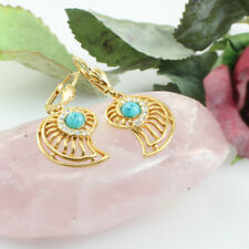 Gold GF Ammonite Shell Shape With Turquoise Stone Filigree Dangle Hook Earrings