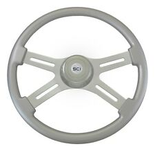 "4 Spoke 18"" Silver Classic Steering Wheel 3-Hole for Freightliner, Peterbilt, KW"