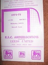 ANDERLECHT v LEEDS UNITED 19th March 1975 European Cup