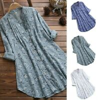 Women Floral Print Long Sleeve Tunic Tops Loose V Neck Casual Blouse Shirt
