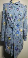 Oasis Blue White Stripe Pansy Print Shirt Dress Size 10 UK Twisted Floral