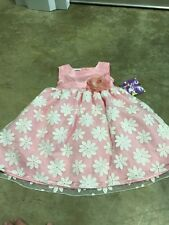 NWT Blueberi Boulevard fancy sleevless dress SIZE 2t Pink White Flowers Easter