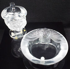 Lalique France Frosted Crystal Tete De Lion Lighter & Ashtray Set