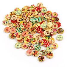 100 Stück Runde Holzknöpfe Buttons 15mm Nähen Kleidung Deko Basteln