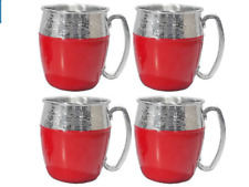 Hammered Moscow Mule Mugs 4-PC SET in BOX Red & Silver Tone Stainless Steel Cups