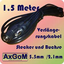 DC Verlängerungskabel - Hohlstecker + Hohlbuchse 5,5 mm / 2,1 mm  - 1,5 Meter