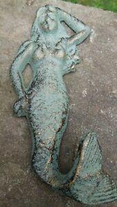 Whimsical Seafoam Green and Brass Tone Ocean Beach Mermaid Wall Hook