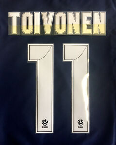 MELBOURNE VICTORY TOIVONEN #11 A-LEAGUE NAME AND NUMBER SET FOR HOME JERSEY