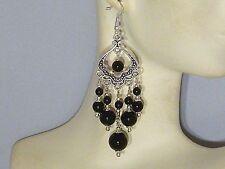 Gemstone Earrings - Black Onyx w/ 925 Sterling Silver - long chandeliers / drops
