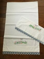 New listing Vintage Embroidered Pillowcases Pair Crocheted Tatted Edge Blue Unused Lovely