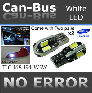 2 pair T10 Samsung 8 LED Chips Canbus White Fit Front Parking Light Lamps J939
