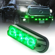 Xprite 4 LED Green Grille Strobe Lights Side Marker Flash Emergency Warning 12V