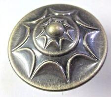 """1 Vintage Pull Knob Starburst Sunburst Round Dark Brushed Japanned Brass 1-3/8"""""""