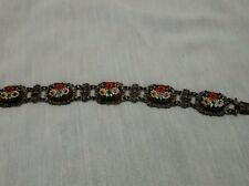 Rare vintage victorian micro mosaic 800  silver  flower links bracelet