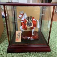 Japanese Traditional warrior Samurai horse Figure in Glass Case MINT!