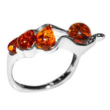 3.2g Authentic Baltic Amber 925 Sterling Silver Ring Jewelry s.7 A7242S7