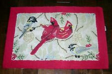 WILLLIAMSBURG Hand Hooked RUG Cardinals 23 x 34 Inches Wool