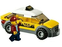 LEGO City Yellow Taxi Cab & Driver Minifigure Train Town Scenery 60197 60198 NEW